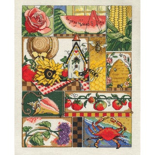 """Summer Montage Counted Cross Stitch Kit-11""""X14"""" 14 Count"""