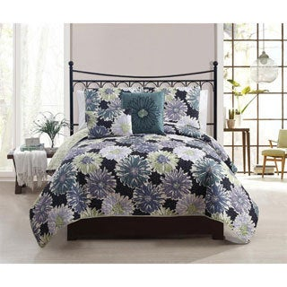 Antoinette Navy Blue Floral 3-piece Quilt Set