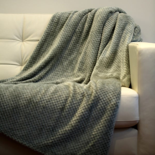 Solid Double Face Jacquard Flannel Blanket