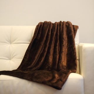Ultra Lux Solid Coffee Color Throw Blanket