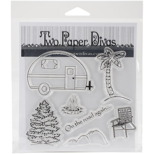 "Two Paper Divas Clear Stamps 7.5""X6""-On The Road Again"