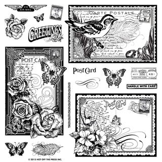 "Hot Off The Press Acrylic Stamps 8""X8"" Sheet-Postcards"