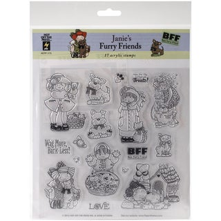 "Hot Off The Press Acrylic Stamps 8""X8"" Sheet-Janie's Furry Friends"