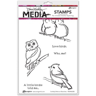 "Dina Wakley Media Cling Stamps 6""X9""-Scribbly Birds On Branches"