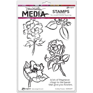 """Dina Wakley Media Cling Stamps 6""""X9""""-Scribbly Flowers"""