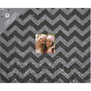 """Colorbok 3 Ring Glitter Album W/Window 12""""X12""""-Black Chevron"""