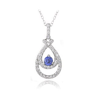 Sterling Silver Blue and White Cubic Zirconia Double Teardrop Necklace