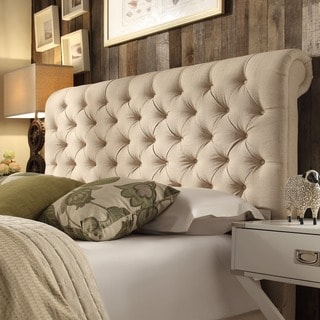 TRIBECCA HOME Knightsbridge Beige Linen Rolled Top Tufted Chesterfield King Headboard