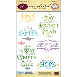 """JustRite Papercraft Clear Stamp Set 4""""X6""""-Rejoice And Be Glad"""