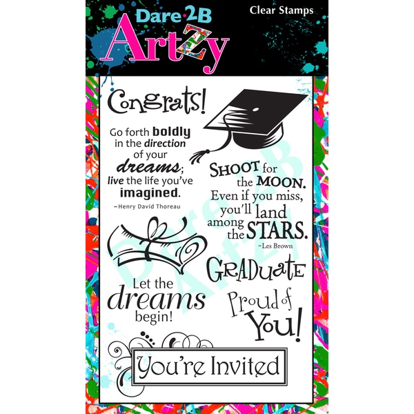 "Dare 2B Artzy Clear Stamps 4""X6"" Sheet-Graduation"