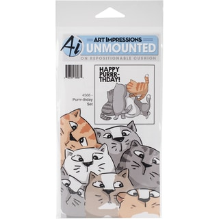 """Art Impressions Front-N-Backs Cling Rubber Stamp 7""""X4""""-Purrr-Thday"""