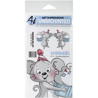 """Art Impressions Spinners Cling Rubber Stamp 7""""X4""""-Frosting"""
