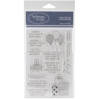 "Technique Tuesday Clear Stamps 4""X6""-Umpteenth Birthday"