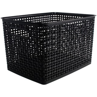 "Weave Design Plastic Bin Large-Black, 13.75""L X 10.5""W X 8.75""H"