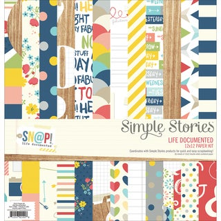"""Simple Stories Paper Pack 12""""X12"""" 12/Pkg-Sn@p! Life Documented"""