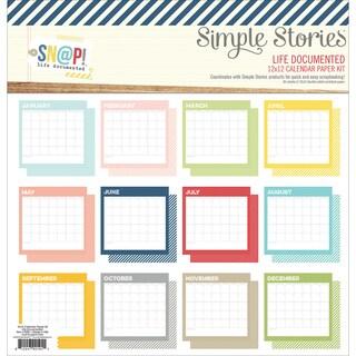 "Simple Stories Paper Pack 12""X12"" 12/Pkg-Sn@p! Life Documented Calendar"