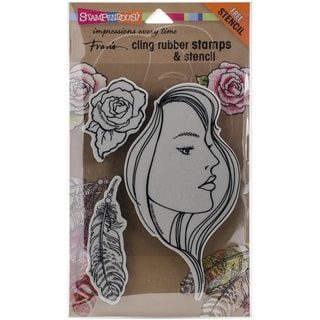"Stampendous Fran's Cling Stamp & Stencil Set 7""X5"" Sheet-The Look Set"