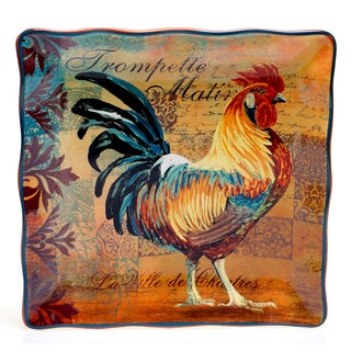 Rustic Rooster Square Serving Platter