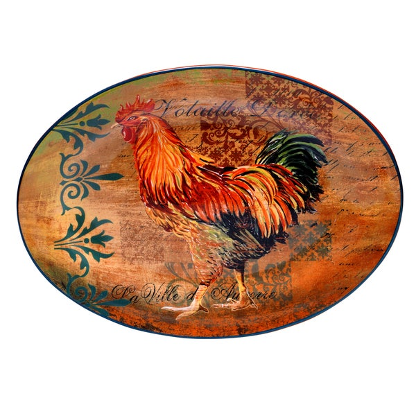 Rustic Rooster Oval Serving Platter 14958646