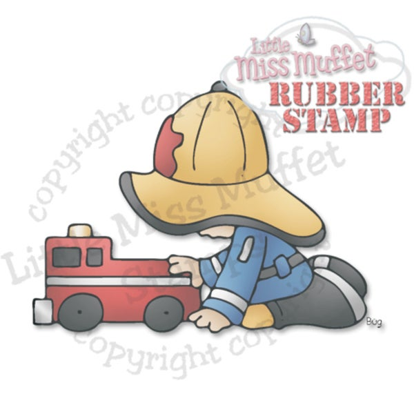 "Little Miss Muffet Cling Stamp 3""X2.25""-Fireman's Firetruck"