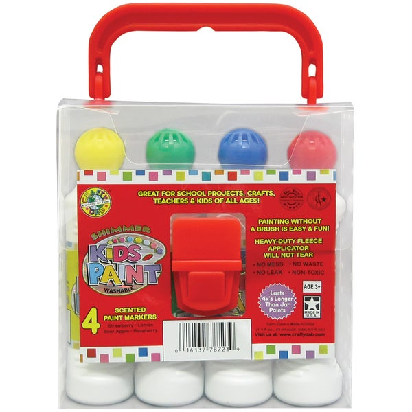 Kid's Scented Shimmer Paint Markers W/Carrycase 4/Pkg-