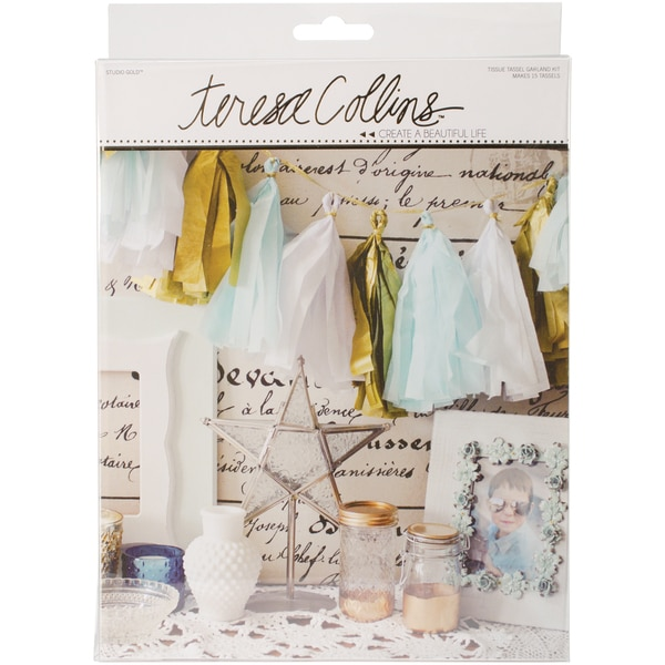 Studio Gold Tissue Tassel Banner Kit-Tassel