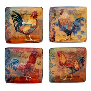 Rustic Rooster 5.75-inch Canape Plate (Set of 4)