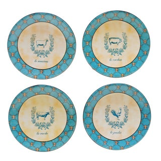French Barnyard 5.75-inch Canape Plate (Set of 4)