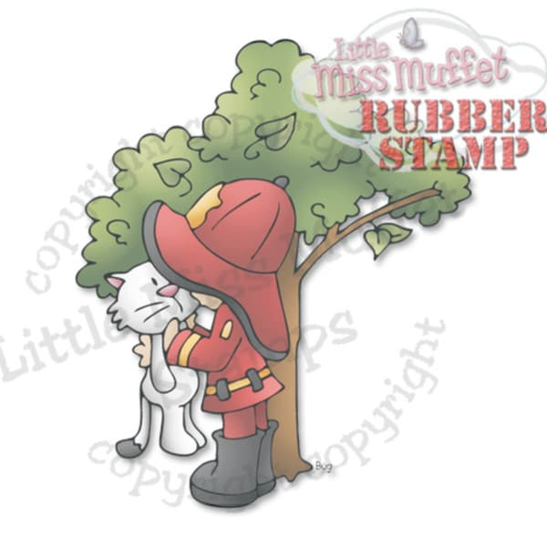 "Little Miss Muffet Cling Stamp 4""X3.5""-Fireman Cat In The Tree"