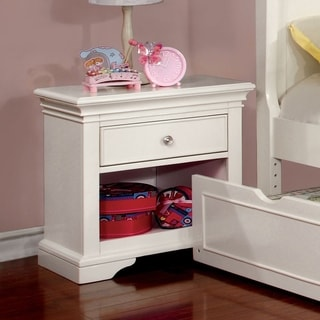 Furniture of America Vetz Modern White Solid Wood 1-drawer Nightstand