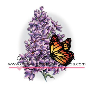 "Doveart Cling Stamp 3""X4""-Lilac & Butterfly"