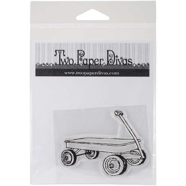 "Two Paper Divas Clear Stamps 6""X4.5""-Little Red Wagon"