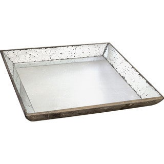Weathered Silvertone Square Glass Serving Tray