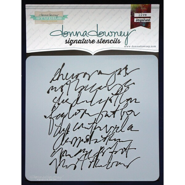 "Donna Downey Signature Stencils 8.5""X8.5""-Scribble Script"