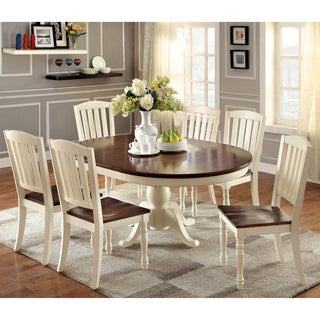 Furniture of America Bethannie 7-Piece Cottage Style Oval Dining Set