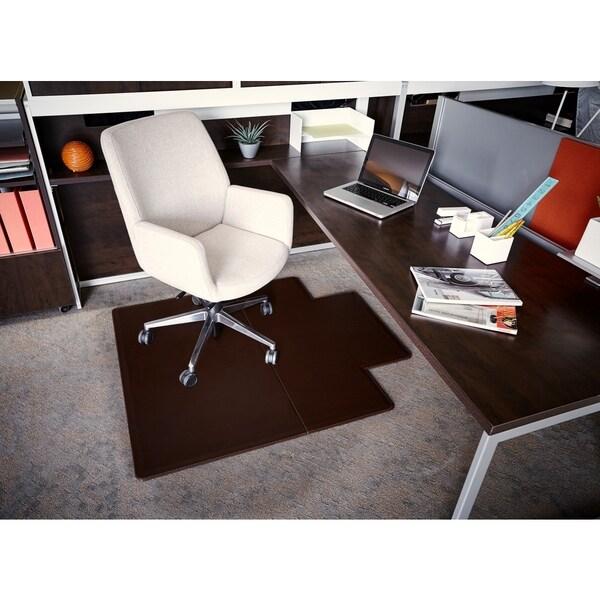 Leather Rectangular Mocha Chair Mat with Lip (44 x 52)