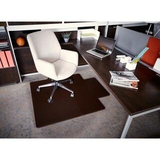 Jani Leather Rectangular Mocha 3.6 x 4.3 ft. Chair Mat with Lip