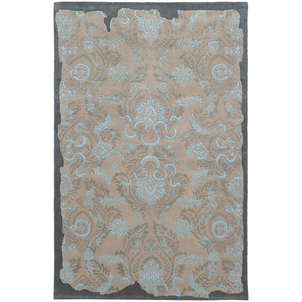 Hand-tufted Pantone Universe Color Influence Eroded Grey/ Blue Oriental Rug (10' X 13')