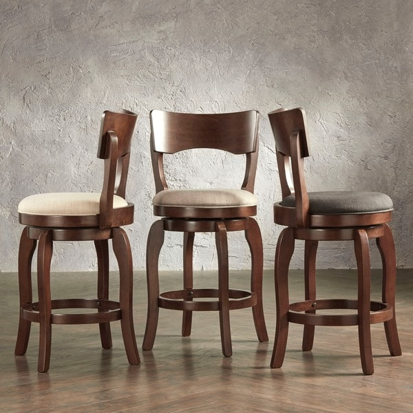 Counter Height Low Back Stools : Inspire Q Lyla Swivel 24inch Brown Oak Counter Height Linen Barstool
