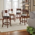 INSPIRE Q Lyla Swivel 24-inch Brown Oak Counter Height Linen Barstool