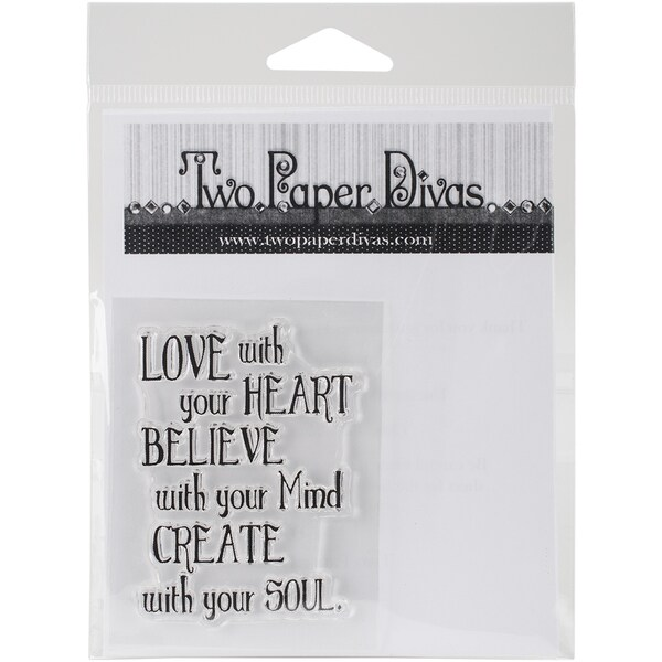 """Two Paper Divas Clear Stamps 6""""X4.5""""-Love With Your Heart"""