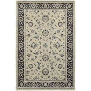Bordered Traditional Persian Ivory/ Navy Rug (3'10 x 5'5)