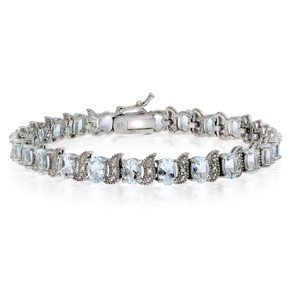 Glitzy Rocks Sterling Silver Aquamarine Diamond Accent 'S' Design Bracelet 14959086