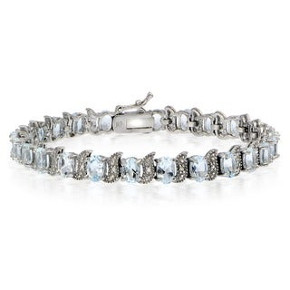 Glitzy Rocks Sterling Silver Aquamarine Diamond Accent 'S' Design Bracelet