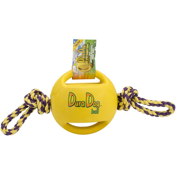 DuraDogBall Interactive Grip Ball Large W/Tugger Rope-Yellow