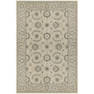 Traditional Floral Oriental Ivory/ Grey Rug (3'10 x 5'5)