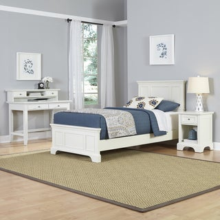 Home Styles Naples Twin Bed, Night Stand, and Student Desk with Hutch