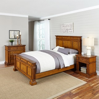 Americana Distressed Oak Bed, Night Stand, and Chest