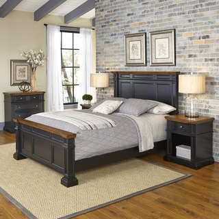 Home Styles Americana Black and Oak Bed, Two Night Stands, and Chest