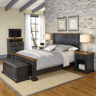 Americana Black and Oak Bed, Two Night Stands, Media Chest, and Upholstered Bench